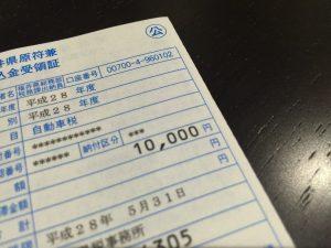 オデッセイハイブリットの平成28年度自動車税は1万円でした